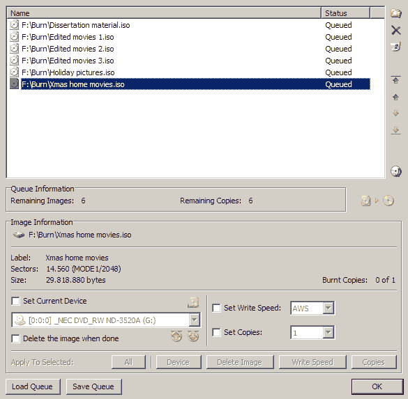 imgburn write queue dialog